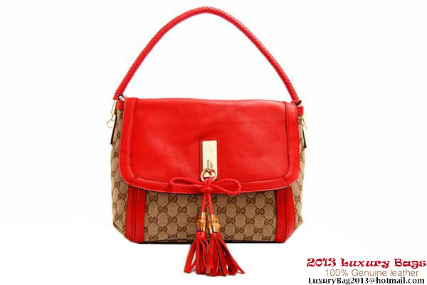 Gucci Original GG Fabric Bella Shoulder Bag 282301 Red