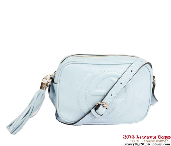 Gucci Soho Calfskin Leather Disco Bag 308364 Light Blue