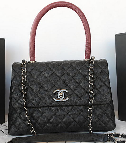 Chanel Classic Top Handle Bag Original Cannage Pattern A92991 Black