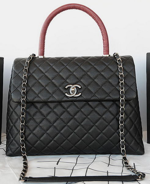 Chanel Classic Top Handle Bag Original Cannage Pattern A92993 Black