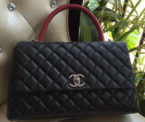 Chanel Classic Top Handle Bag Original Cannage Pattern A95168 Black&Red