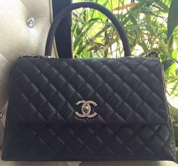 Chanel Classic Top Handle Bag Original Cannage Pattern A95168 Black