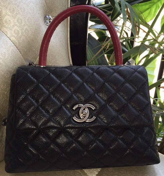 Chanel Classic Top Handle Bag Original Cannage Pattern A95169 Black&Red