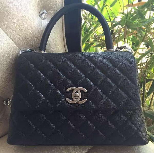 Chanel Classic Top Handle Bag Original Cannage Pattern A95169 Black