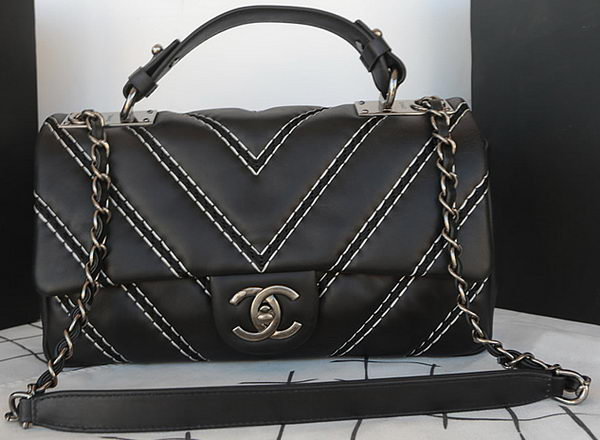 Chanel Classic Top Handle Bag Original Chevron Calfskin Leather A94168 Black