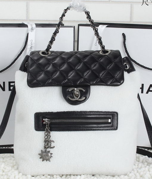 Chanel Sheepskin Leather Backpack A6036 Black&White