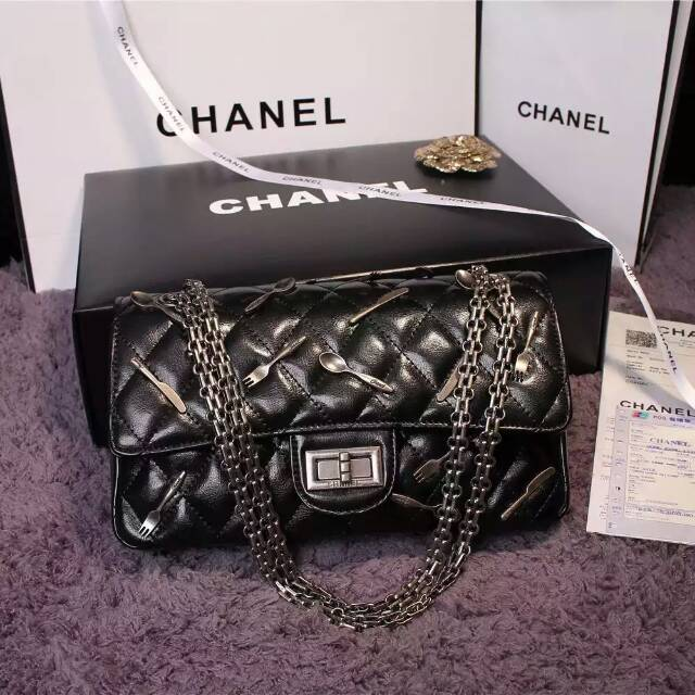 New Chanel 2.55 Series Flap Bag Black A1112 Silver