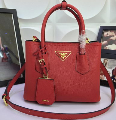 Prada Saffiano Cuir Leather Tote Bag BN2758S Red