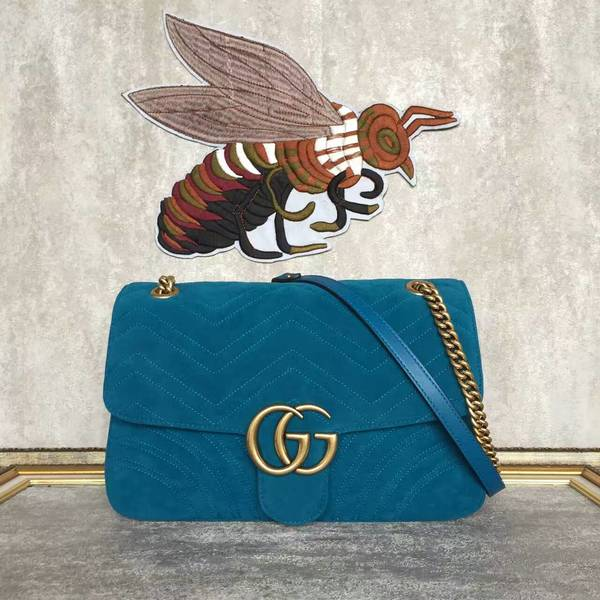 Gucci GG Suede Leather Shoulder Bag 443496 Blue