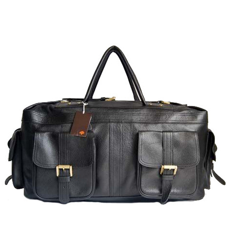 Mulberry HOBO Holdalls Bag Natural Leather Black