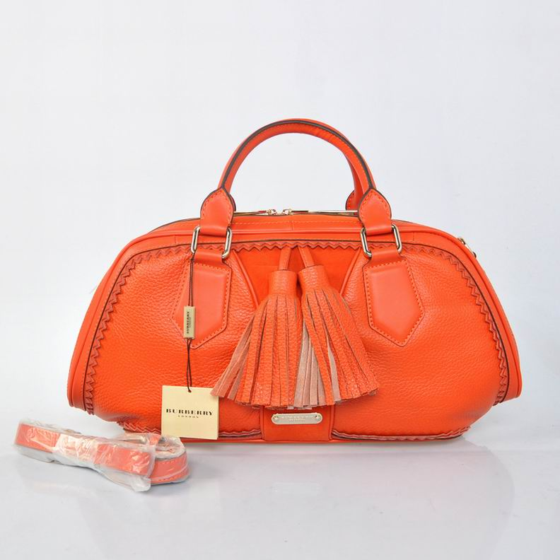 Burberry Outlet Bowling Small Bag Orange Model001