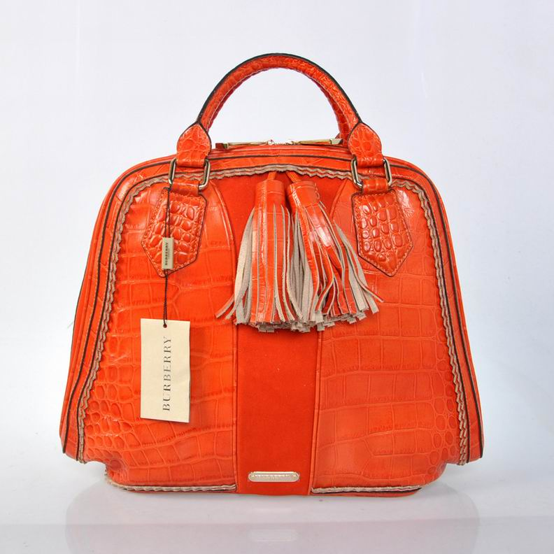 Burberry Outlet Bowling Large Bag Orange Model008