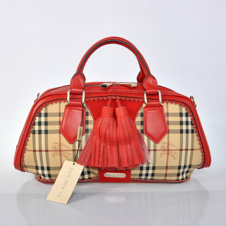 Burberry Outlet Bowling Small Bag Red Model003