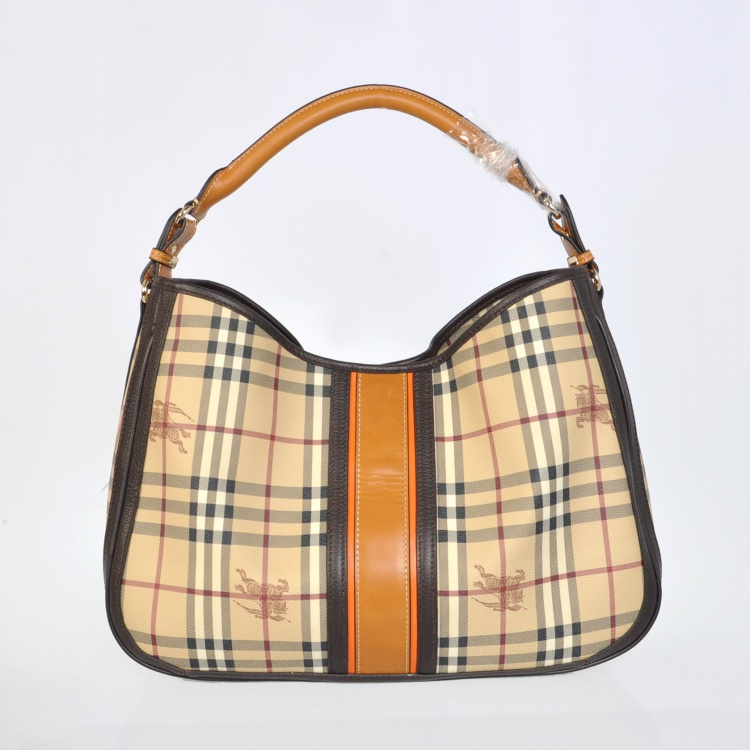 Burberry Outlet Hobo Bag Coffee Model012
