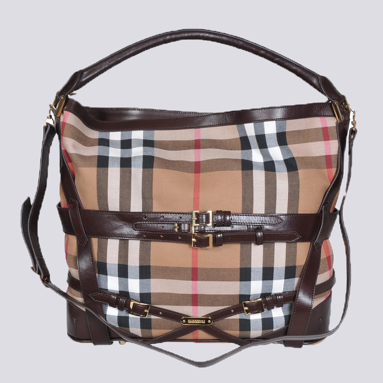 Burberry Outlet Hobo Bag Coffee Model007