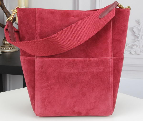 CELINE Sangle Seau Bag in Original Suede Leather C3360 Rose
