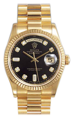 Rolex Day-Date Series Mens Automatic 18kt Yellow Gold Wristwatch 118238-BKDP