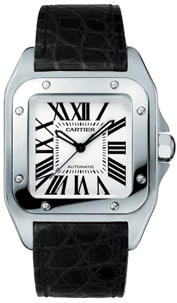 Cartier Santos 100 Stainless Steel Fashionable Mens Automatic Wristwatch-W20106X8