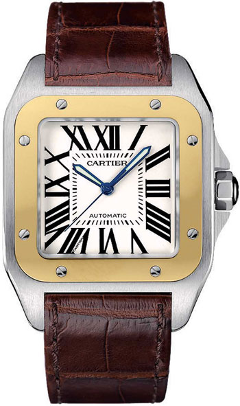 Cartier Santos 100 18kt Yellow Gold and Steel Automatic Mens Wristwatch-W20072X7