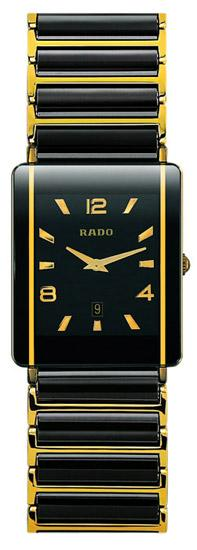 Rado Integral Series Black Ceramic with 18kt Yellow Gold Quartz Mens Watch R20282192
