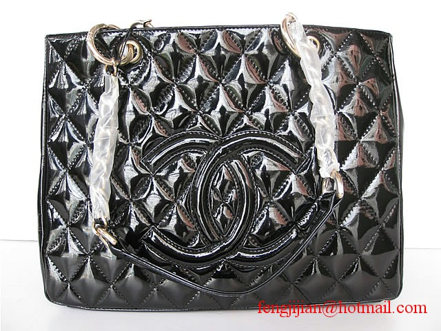Chanel Veau Ver Large Quilted Tote Bag 35626 black