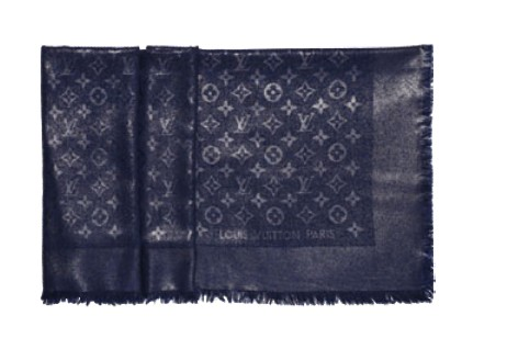 Louis Vuitton Designer Monogram Rock Shawl Bleu Nuit