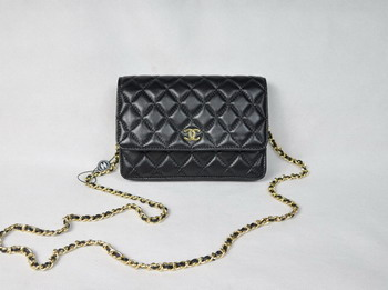 Chanel Lambskin Bag 33814 Black with Golden Chain