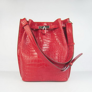 Hermes Jypsiere 34 Togo Crocodile Leather Messenger Bag Red H2804