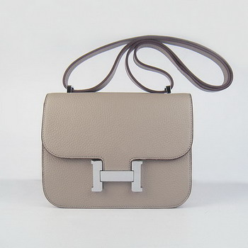 Hermes Oxhide Leather Message Bag Grey H017 Silver Hardware