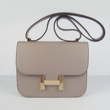 Hermes Oxhide Leather Message Bag Grey H017 Gold Hardware
