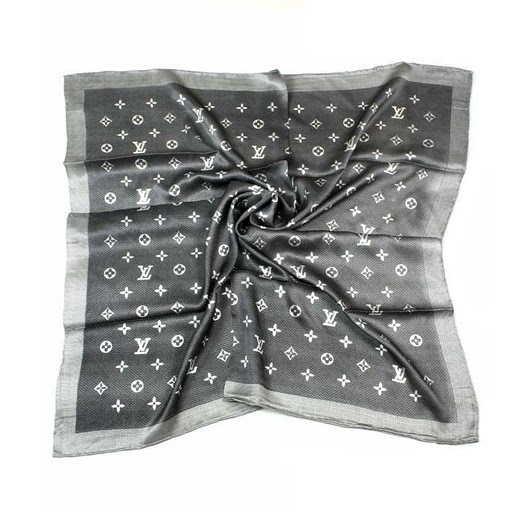 2011 Louis Vuitton Scarf bronzing silk gray white