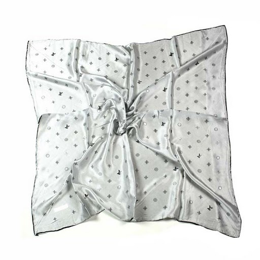 2011 Louis Vuitton Scarf bronzing silk white