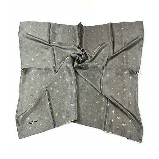 2011 Louis Vuitton Scarf bronzing silk gray