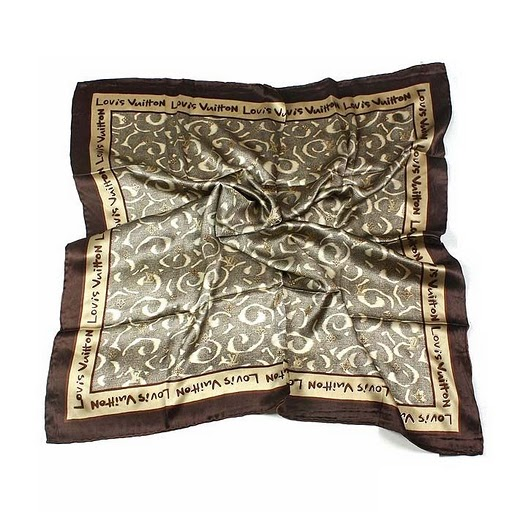 2011 Louis Vuitton Scarf bronzing silk apricot brown