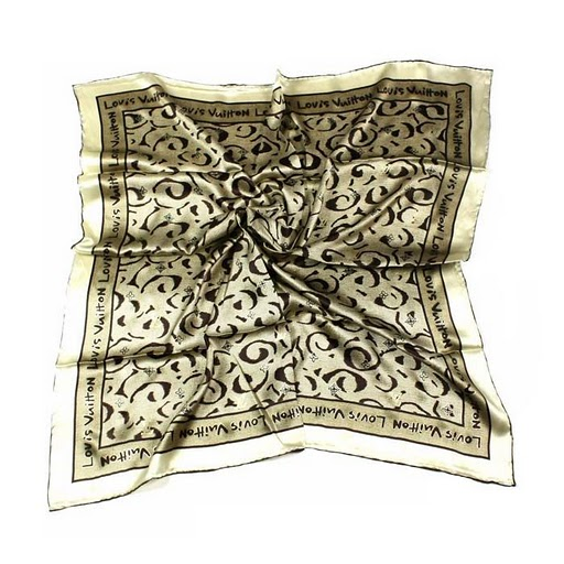 2011 Louis Vuitton Scarf bronzing silk apricot white