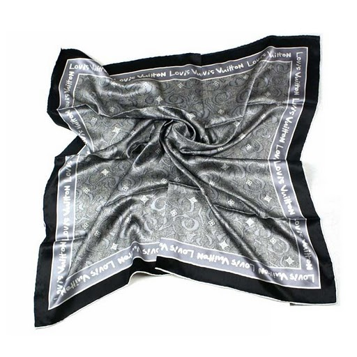 2011 Louis Vuitton Scarf bronzing silk gray black
