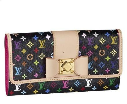 Louis Vuitton Monogram Multicolore Sarah Noeud Wallet M60277 Black