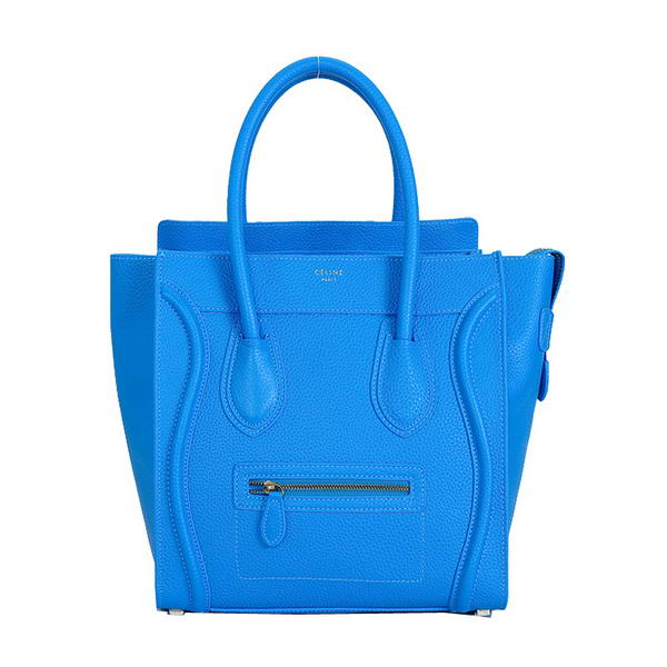 Celine Luggage Mini Boston Bags Clemence Calskin Leather Blue
