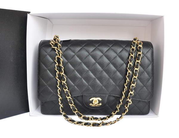 Chanel A47600 Black Original Caviar Leather Jumbo Flap Bag Gold