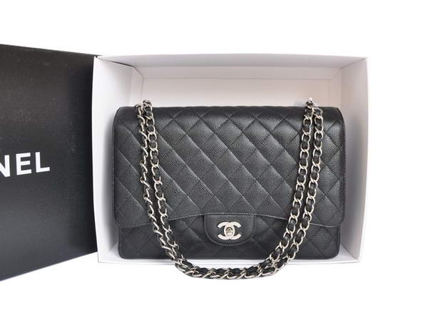 Chanel A47600 Black Original Caviar Leather Jumbo Flap Bag Silver