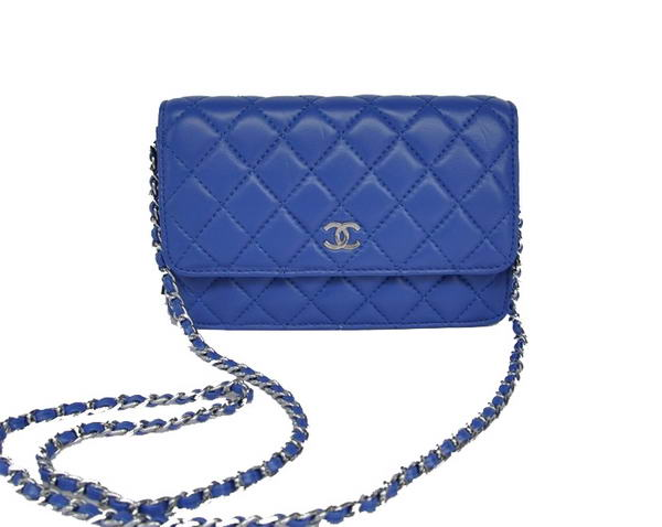 Chanel Lambskin Flap Bag A33814 Blue With Silver Hardware