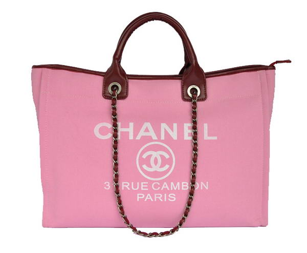 Chanel Large Canvas Tote Shopping Bag A66942 Peach