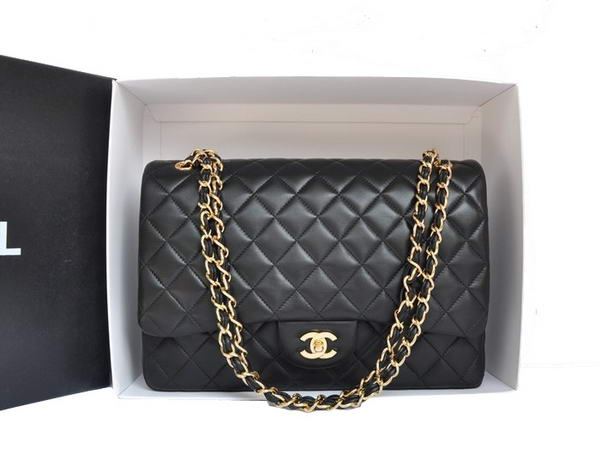 Chanel Original Leather Jumbo Flap Bag A47600 Black Gold