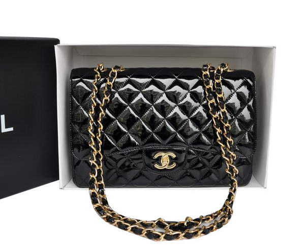 Chanel Original Patent Leather Classic Flap Bag A28600 Black Golden