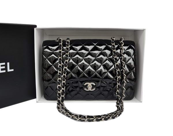 Chanel Original Patent Leather Classic Flap Bag A28600 Black Silver