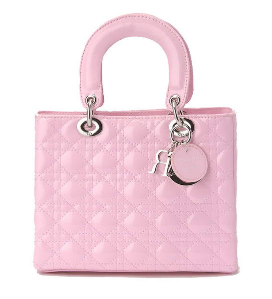 Ladies Christian Dior Pink Patent Leather Mini Lady Dior Bag Silver