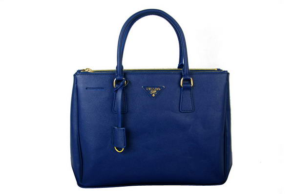 Prada BN1786 Saffiano Calf Leather Tote Bag Blue