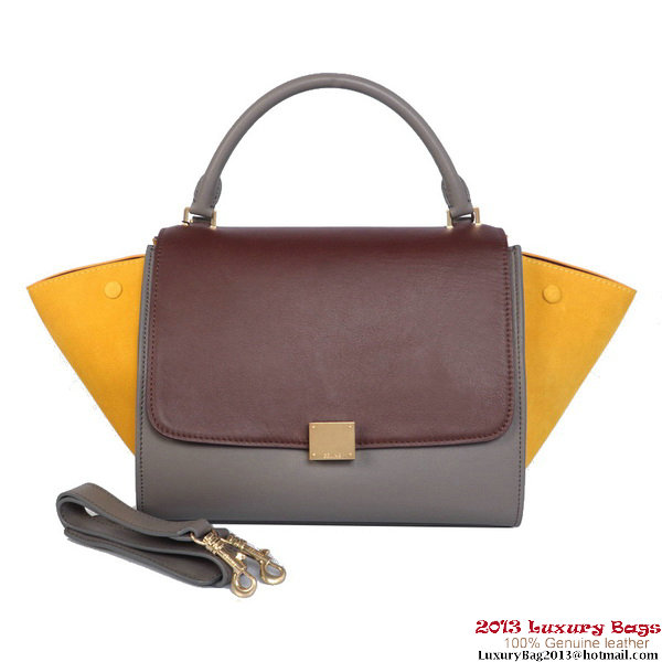 Celine 1 6954 Trapeze Top Handle Bag Burgundy&Yellow&Grey