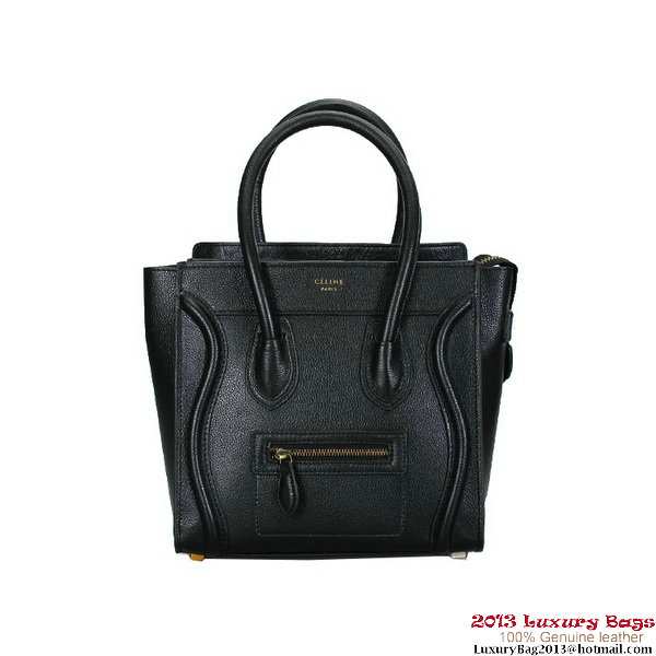 Celine 16779 Luggage Micro Shopper Bag Black