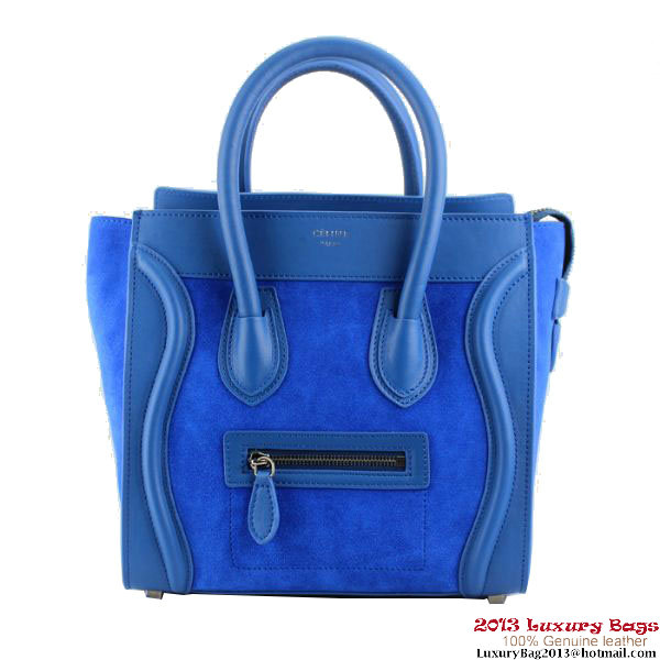Celine 16779 Luggage Micro Shopper Bag Royalblue